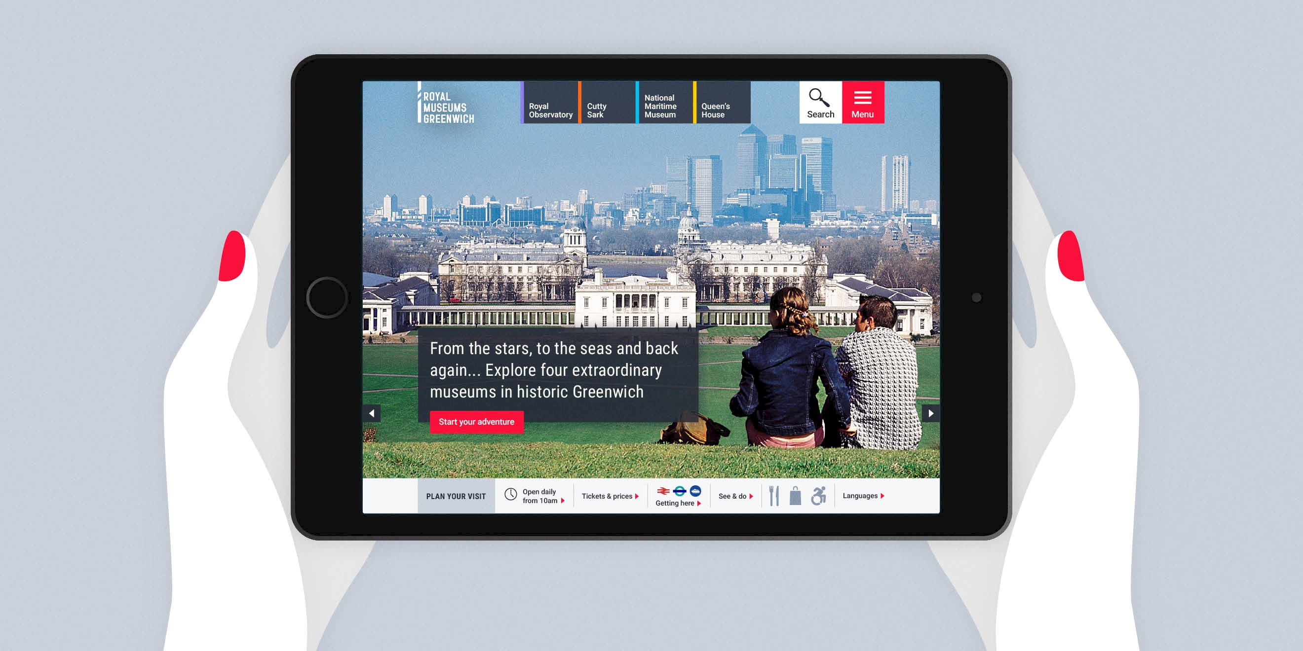 Royal Museums Greenwich website design on tablet - Human After All