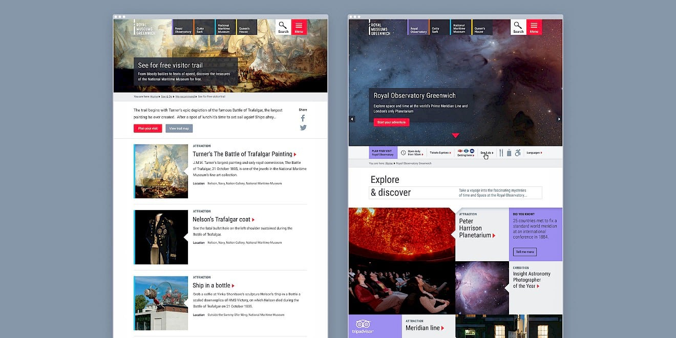 Page design for Royal Museums Greenwich website - image 1