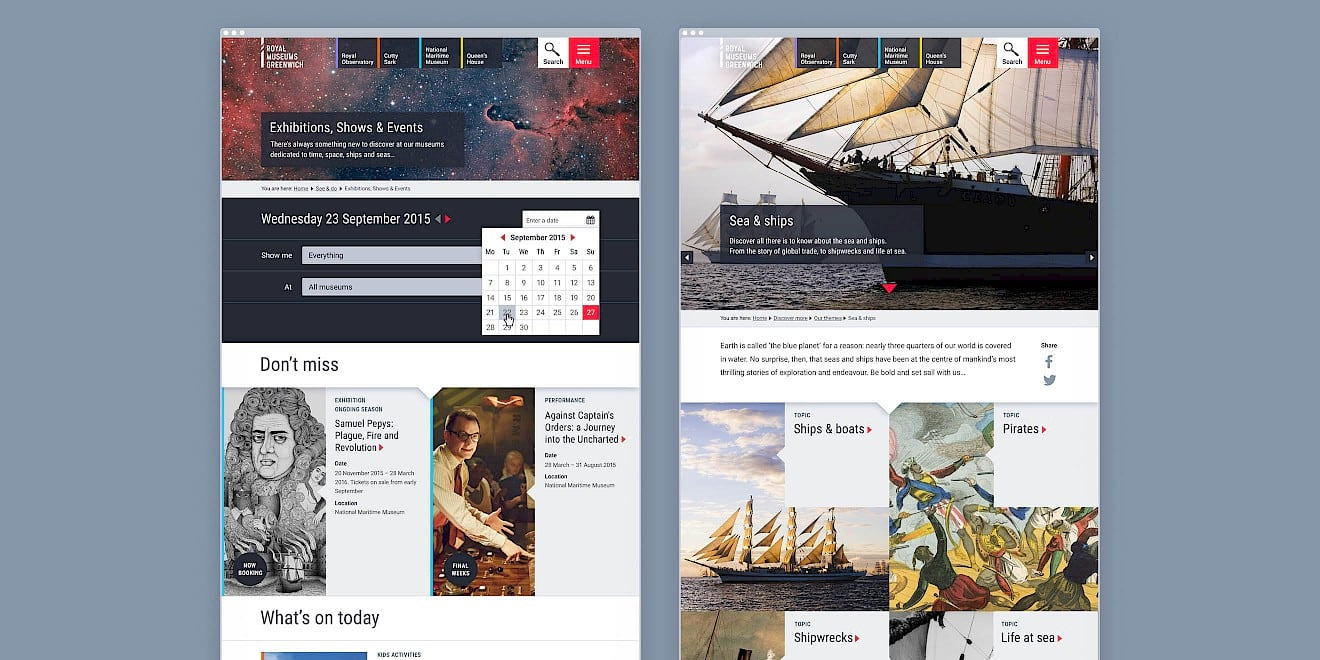 Page design for Royal Museums Greenwich website - image 2