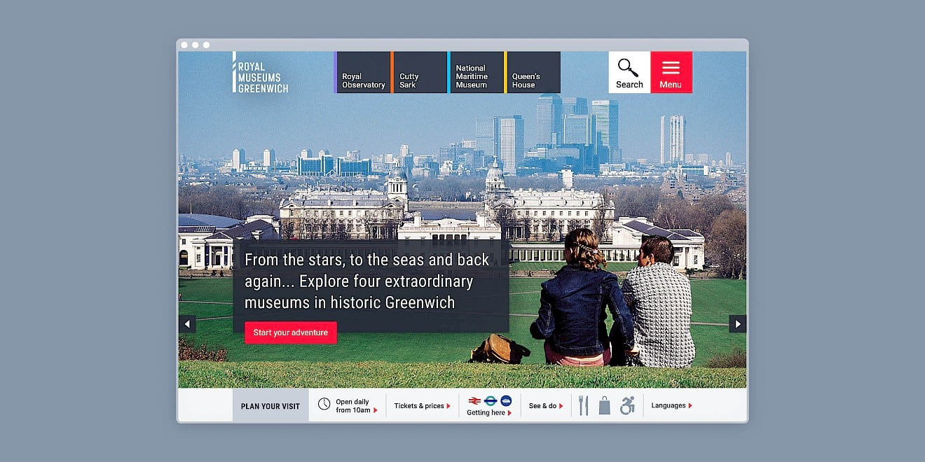 Homepage design for Royal Museums Greenwich website
