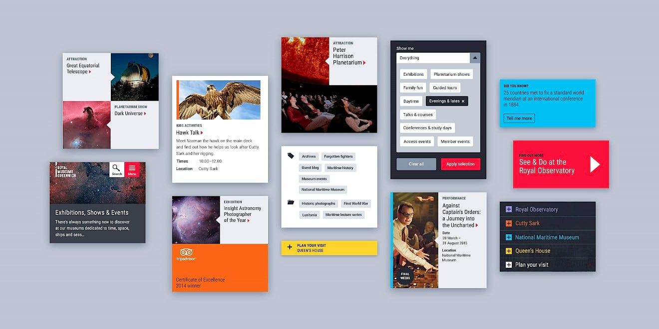 Component & UI design for Royal Museums Greenwich website - image 1