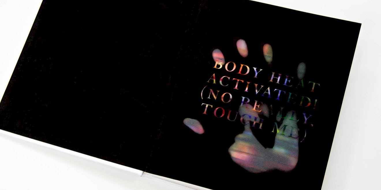 Body heat activated page design from Google Think Quarterly magazine