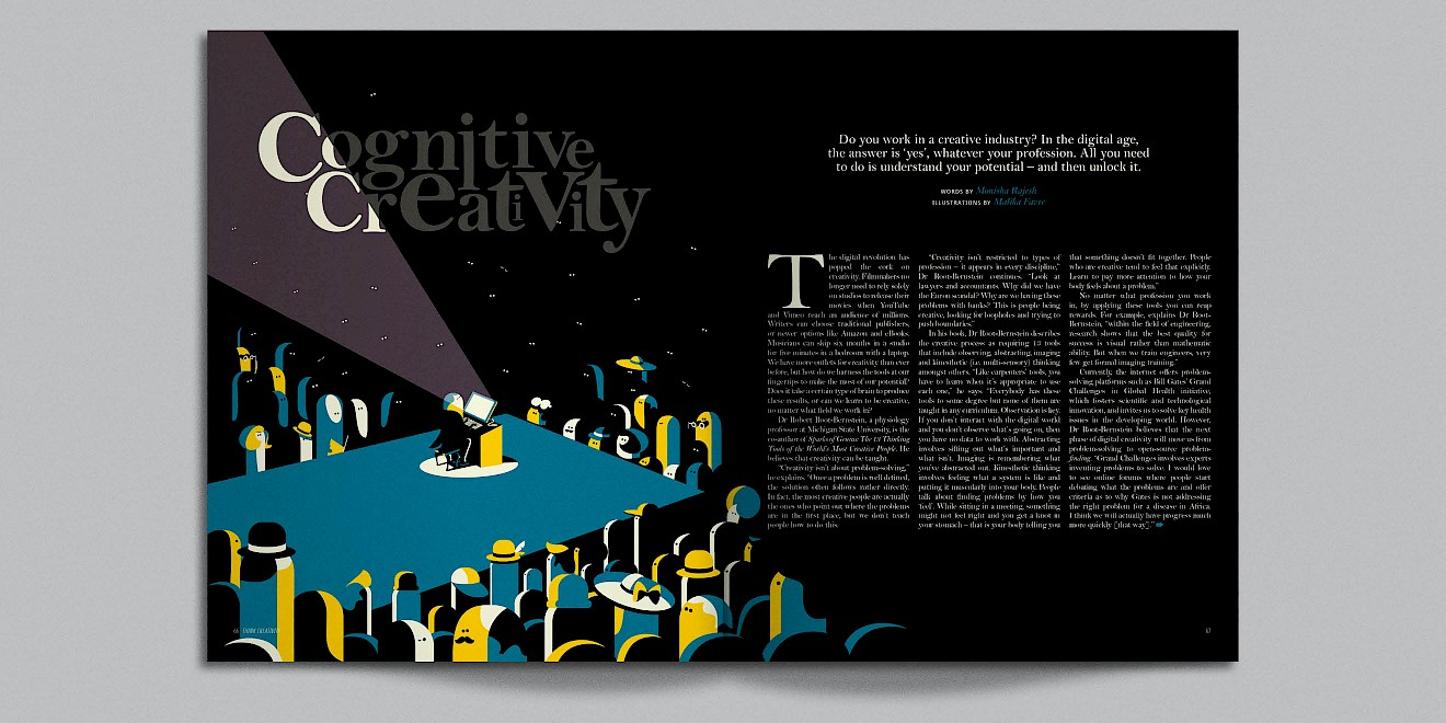 Cognitive Creativity page design from Google Think Quarterly magazine
