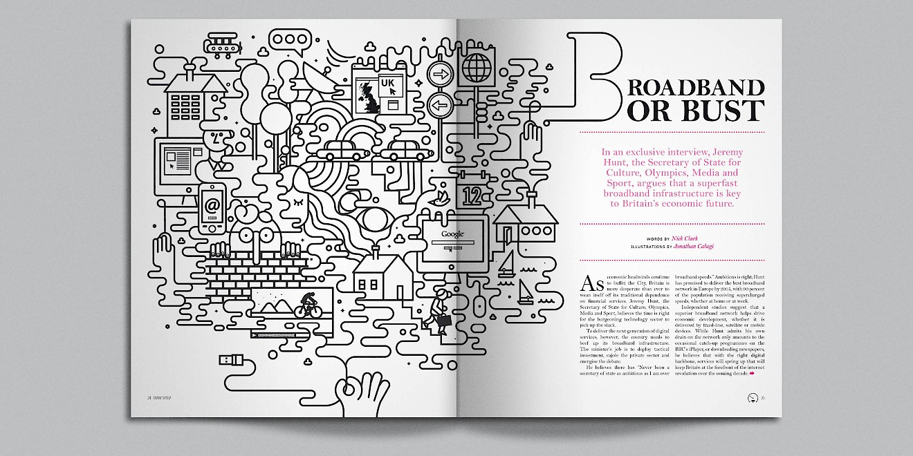Broadband or Bust page design from Google Think Quarterly magazine