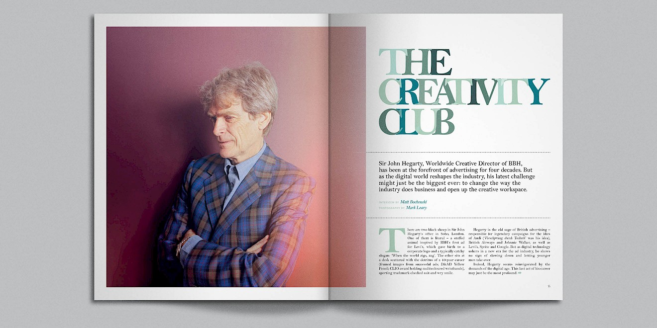 The Creativity Club page design from Google Think Quarterly magazine