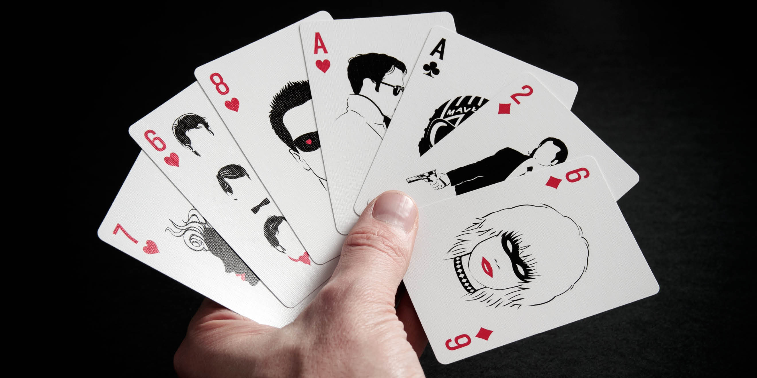 Hand of cards showing the Cult Movie Card illustrations