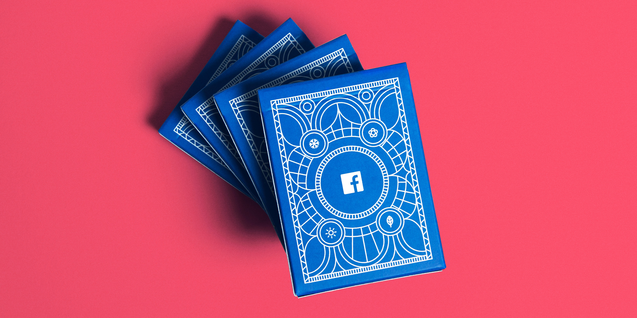 Boxes of Facebook B2B marketing insights playing cards by Human After All