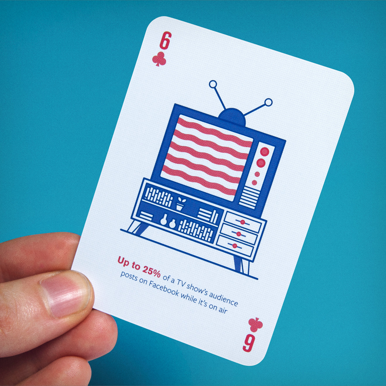 Facebook B2B marketing insights playing card with TV design by Human After All