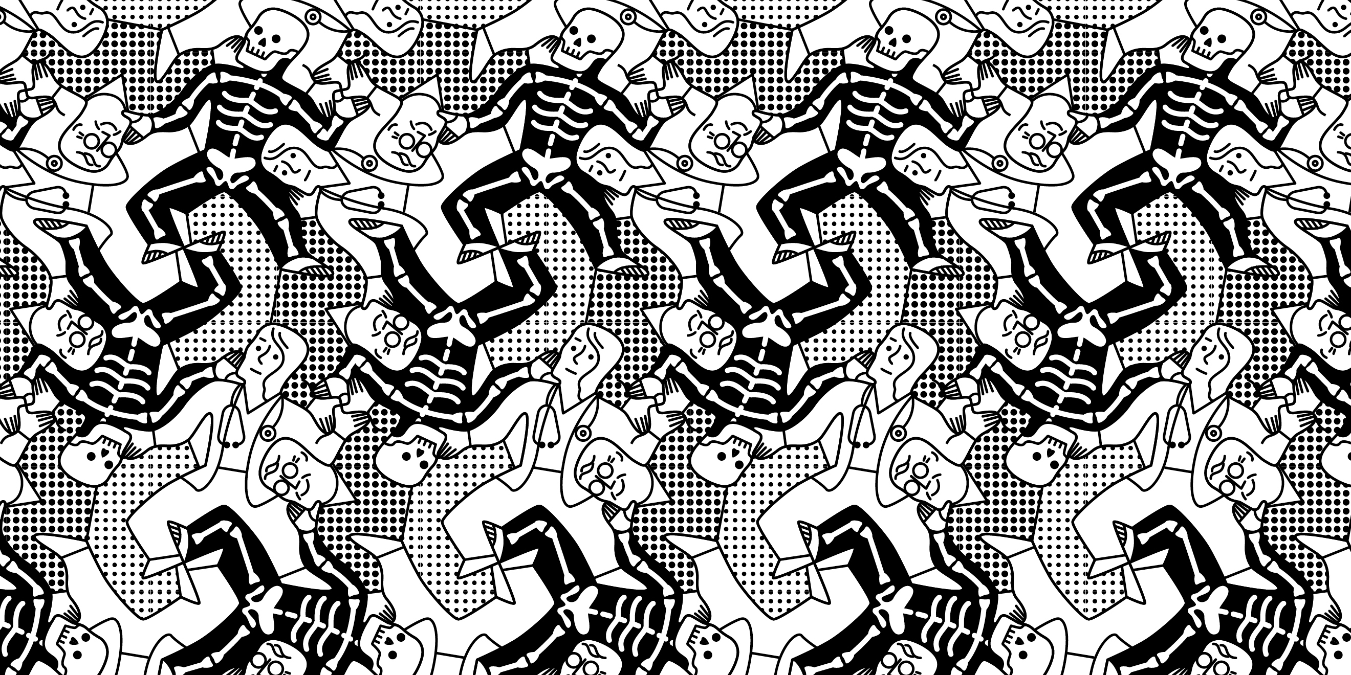 Repeating pattern illustration from Weapons of Reason: The New Old magazine