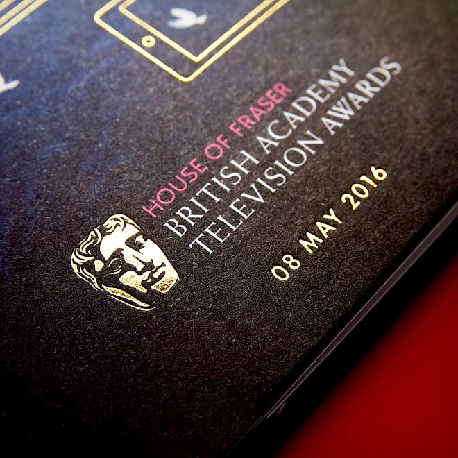 BAFTA 2016 TV Awards ticket design detail 2