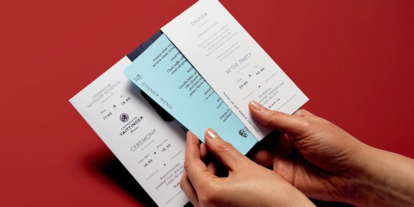 BAFTA 2016 TV Awards ticket and menu card design