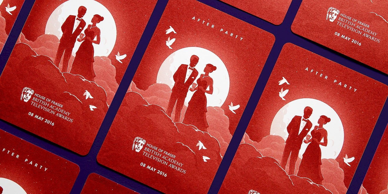 BAFTA 2016 TV Awards after party ticket design