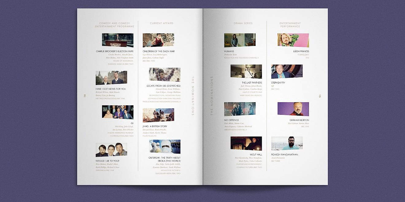 BAFTA 2016 TV Awards brochure spread 2