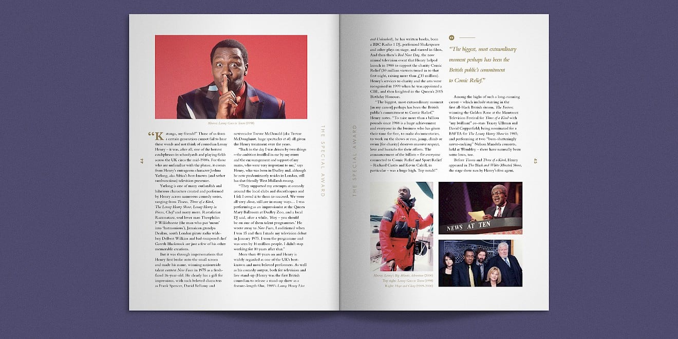 BAFTA 2016 TV Awards brochure spread 5
