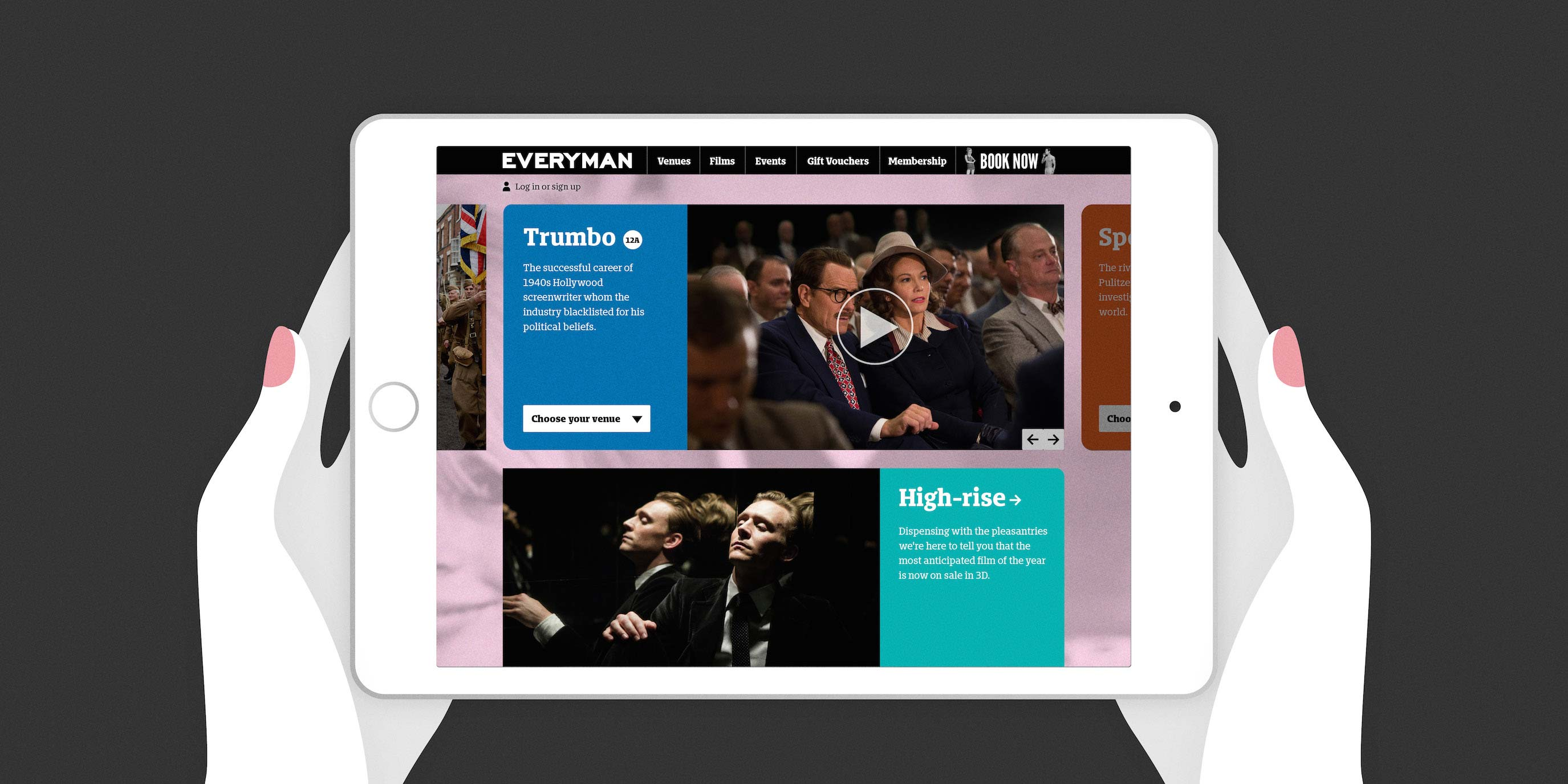 Everyman Cinema website design by Human After All design agency