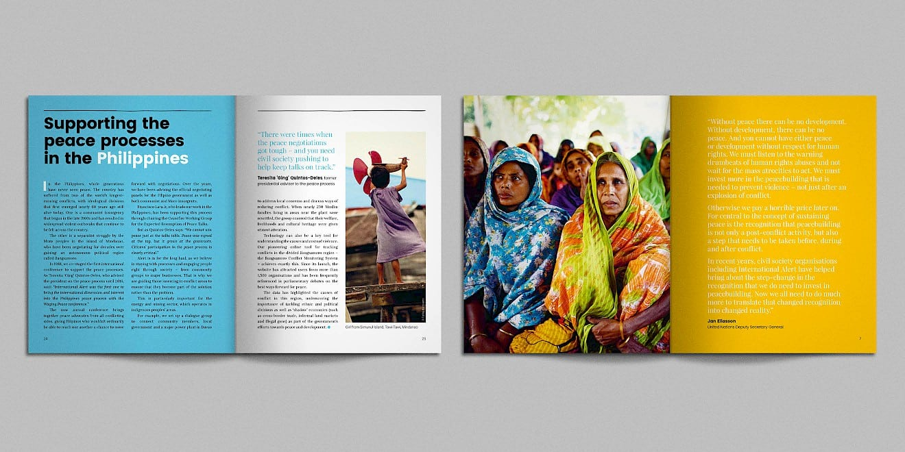 Spreads from the International Alert anniversary booklet - image 2
