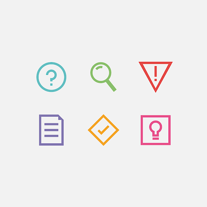 Icon design for ALNAP Evaluation of Humanitarian Action Guide
