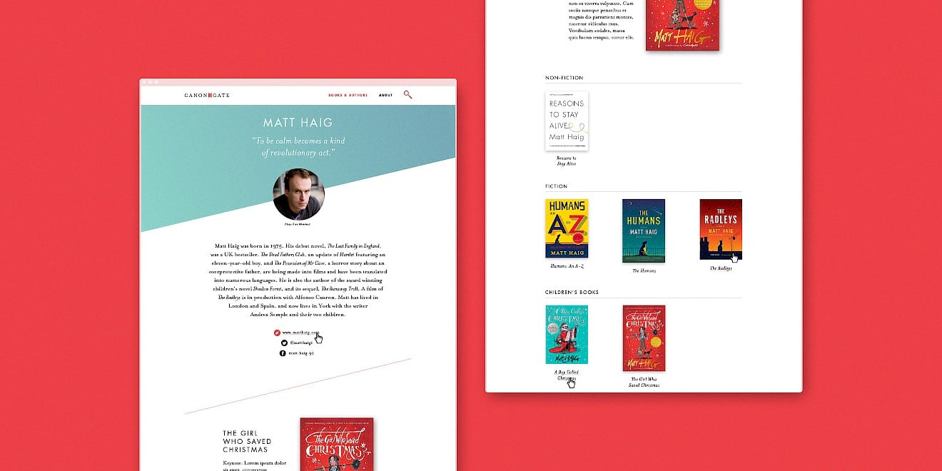 Canongate book author page design
