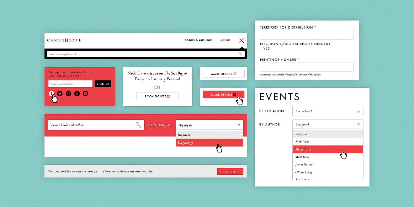 Modular design elements designed for the Canongate website