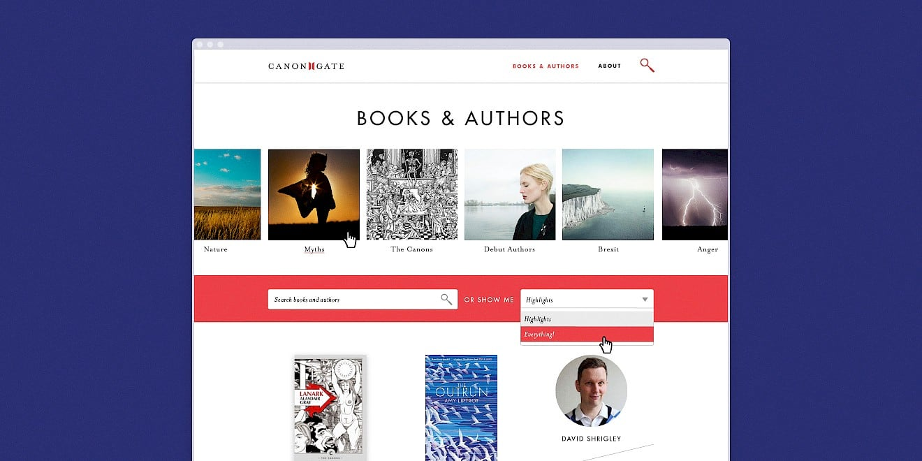 Books and authors page design