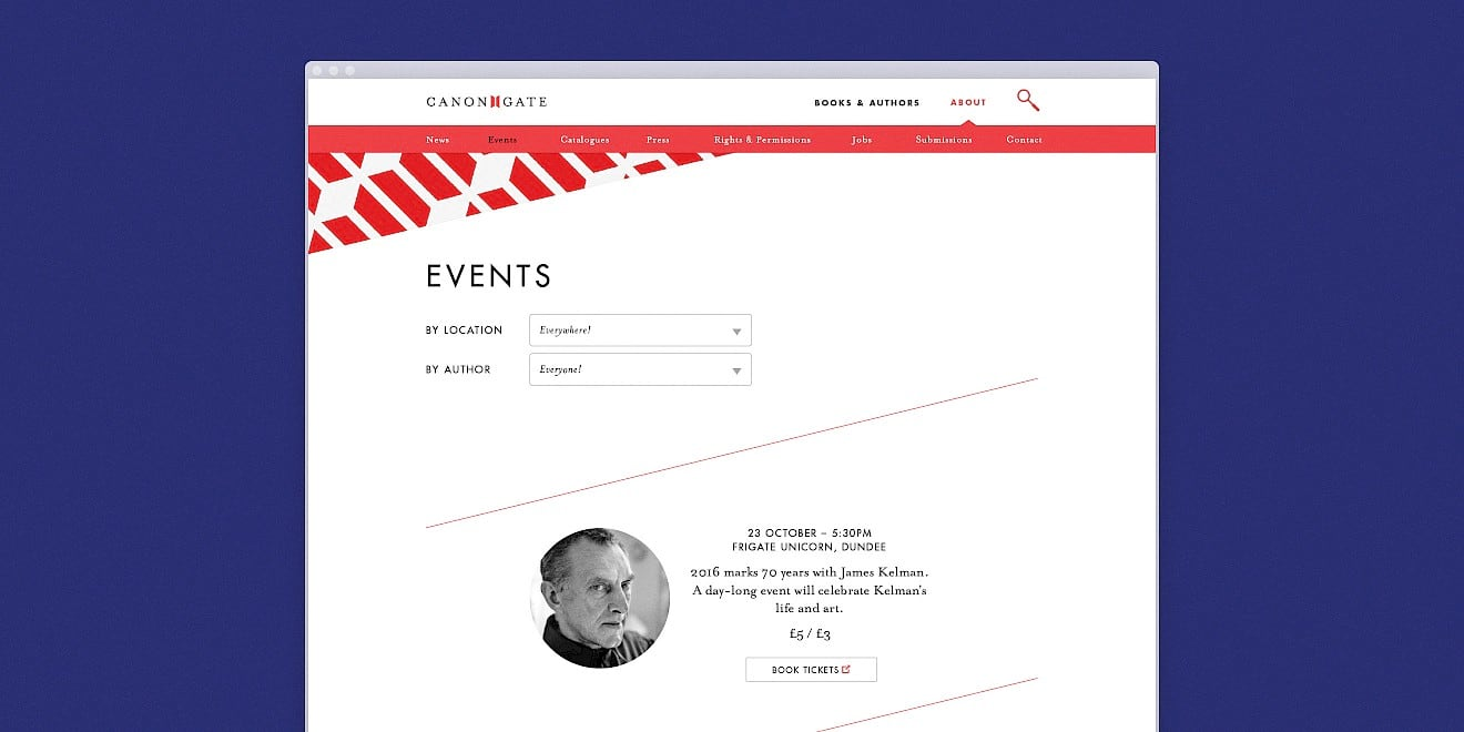 Events page design