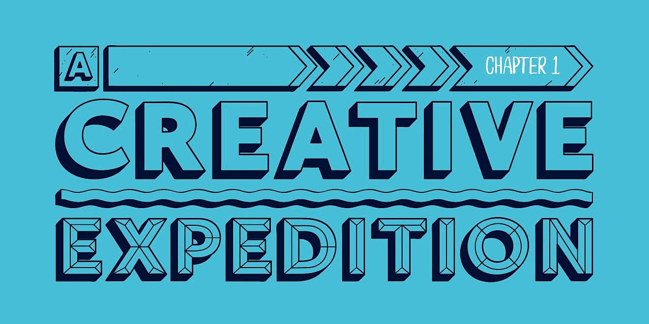 'A Creative Expedition' - title typography design for 'The Way To Design'