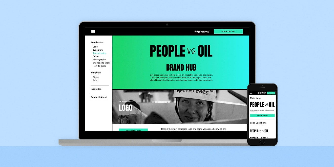 Greenpeace People vs. Oil brand hub website on devices