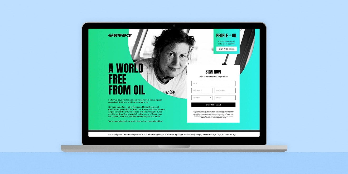 Greenpeace People vs Oil campaign website