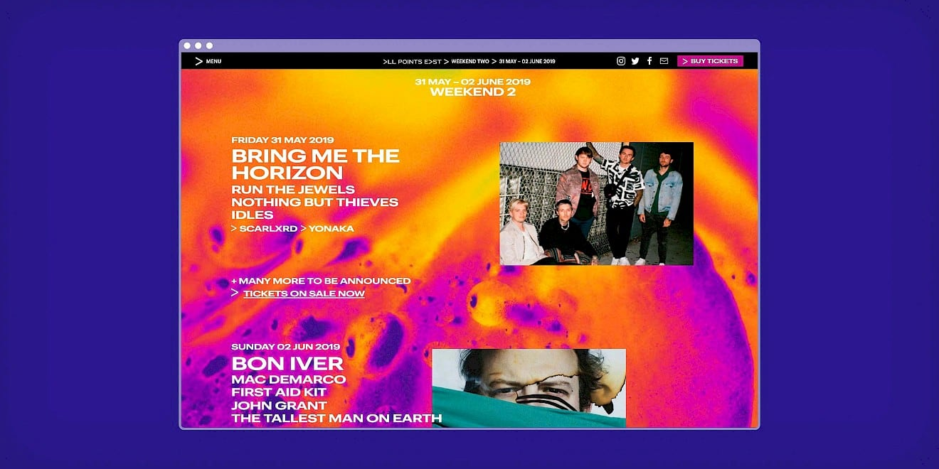 All Points East festival website homepage design
