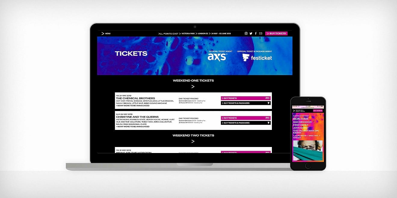 All Points East festival website design on desktop and mobile devices
