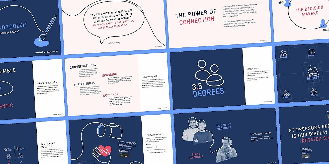 Facebook Three and a Half Degrees podcast brand identity assets by Human After All
