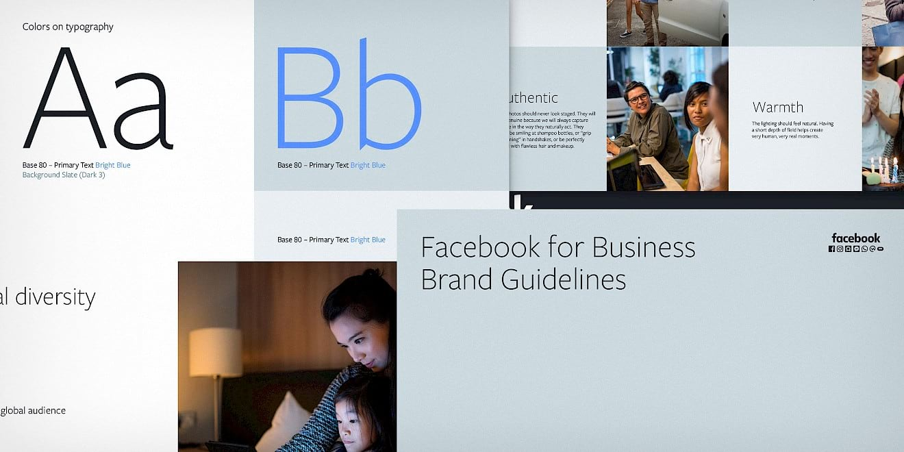 Facebook Business Brand Architecture design guidelines pages overview by Human After All